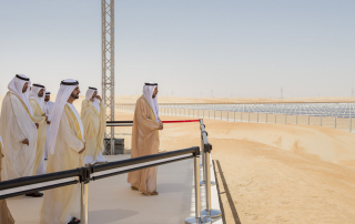MADINAT ZAYED, WESTERN REGION OF ABU DHABI, UNITED ARAB EMIRATES - March 17, 2013: HH Sheikh Khalifa bin Zayed Al Nahyan President of the UAE and Ruler of Abu Dhabi (R), looks at the Shams 1 Concentrated Solar Power plant during the opening ceremony. Shams 1 is a project of the Shams Power Company, a subsidiary of Masdar, in association with Total and Abengoa Solar. Seen with HH Sheikh Tahnoon bin Mohammed Al Nahyan Ruler's Representative of the Eastern Region (L), HE Dr Sultan Ahmed Al Jaber CEO of Masdar (2nd L), HH General Sheikh Mohamed bin Zayed Al Nahyan Crown Prince of Abu Dhabi Deputy Supreme Commander of the UAE Armed Forces (3rd L), HH Sheikh Mohammed bin Rashid Al Maktoum Vice-President Prime Minister of the UAE and Ruler of Dubai (4th L) and others..( Ryan Carter / Crown Prince Court - Abu Dhabi ).---