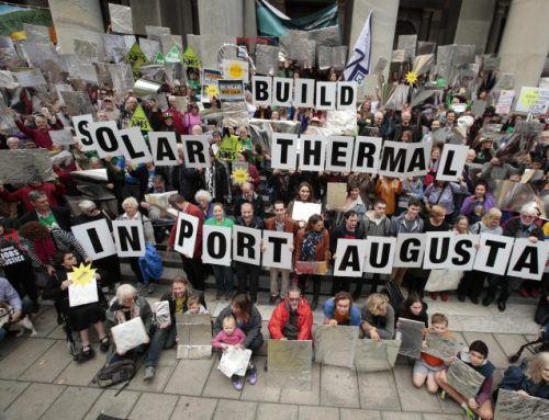 Demonstrators rally for Port Augusta concentrated solar power plant